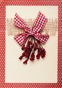 Christmas card with berry decoration and red dotted frame