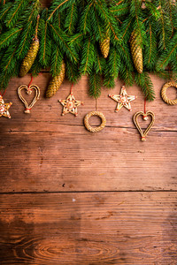 Christmas composition. Studio shot on wooden background.
