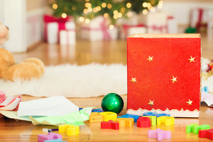 Christmas decorations and childrens toys inside a home