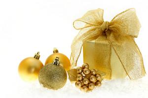Christmas gift on white background