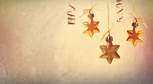 Christmas golden star ornaments in vintage style
