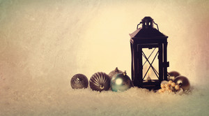Christmas lantern with ornaments in vintage style