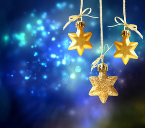 Christmas star ornaments in the night