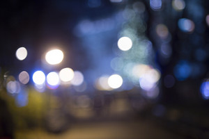 City at night - defocused urban abstract backgrounds