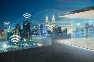 City scape and wifi network connection concept