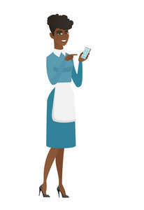 Cleaner in uniform holding mobile phone and pointing at it. Full length of young cleaner with mobile phone. Cleaner using mobile phone. Vector flat design illustration isolated on white background.