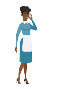 Cleaner in uniform talking on a mobile phone. Cleaner talking on a cell phone. Full length of young cleaner talking on a mobile phone. Vector flat design illustration isolated on white background.