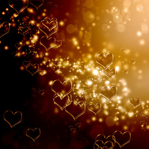 Clear shiny hearts background (gold and brown)