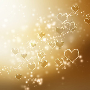 Clear shiny hearts background (gold)