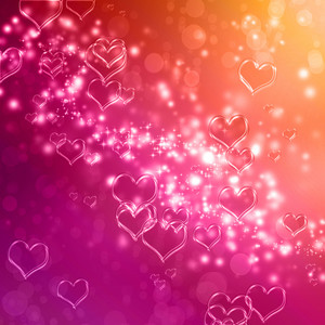 Clear shiny hearts background (pink and orange)