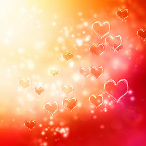 Clear shiny hearts background (red and orange)