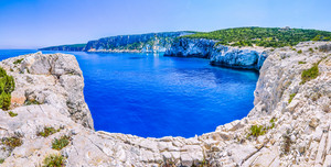 Cliff coastline wiht sand rocks near Alaties Beach, Kefalonia, Ionian islands, Greece