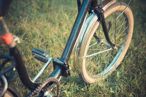 close up of a vintage bike on the grass