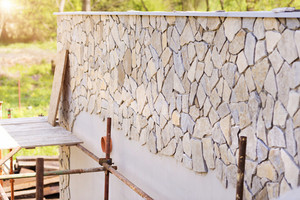 Close up of an unfinished  stone wall