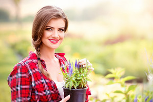 Close up of beautiful young gardener in red checked shirt, holding seedling in flower pot, green sunny nature