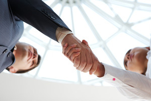 Close-up of business people handshaking above camera