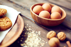 Close-up of eggs the table