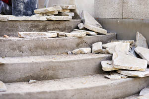 Close up of flagstones laid on unfinished stairs