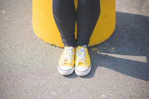 close up of yellow shoes background abstract concept
