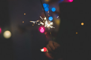 Close up on a sparkler firework for new year's eve celebrations - celebrate, holiday concept