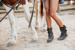 Closeup of legs of woman and horse walking together on ranch