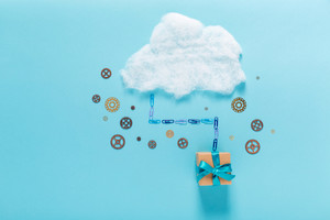 Cloud computing concept with an gift box