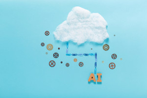 Cloud computing concept with artificial intelligence theme