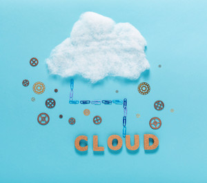 Cloud computing concept with cork block letters