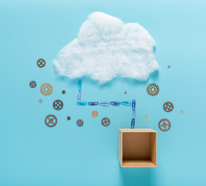 Cloud computing concept with empty cardboard box