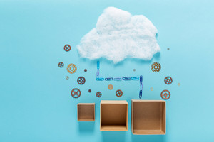 Cloud computing concept with empty cardboard boxes