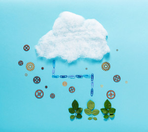 Cloud computing concept with green energy theme
