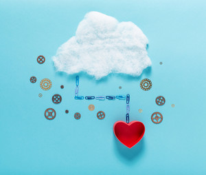 Cloud computing concept with heart or love theme