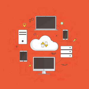Cloud computing concept with illustration of digital devices connected with cloud.