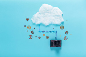 Cloud Computing theme on a blue background