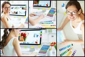 Collage of happy female designer working with colors