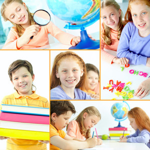 Collage of schoolkids during studies in school