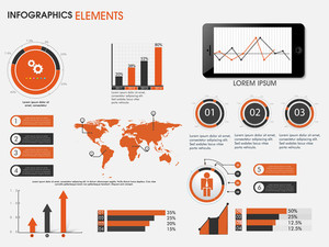 Collection of business infographics as world map, graphs, bars and arrows for data presentation.