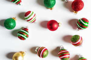 Collection of Christmas baubles from top view