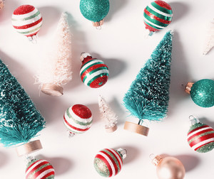 Collection of Christmas trees and ornaments from top view
