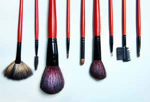 Collection of different cosmetic brushes for makeup