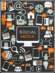 Collection of different social media icons for online communication.