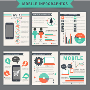 Collection of mobile infographic template, flyer or brochure with statistical bar, graph and charts.
