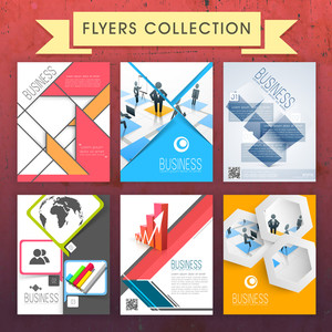 Collection of stylish professional flyers with infographic elements for business or corporate sector.