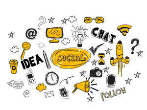 Collection of various colorful social media icons, signs or symbols on shiny background for network communication concept.