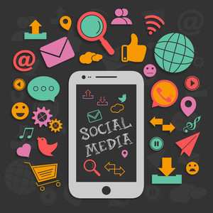 Collection of various social media icons, signs and symbols with smartphone presentation on black background.