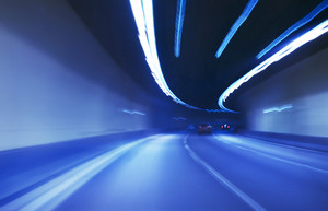 Colorful abstract motion blurred in highway tunnel