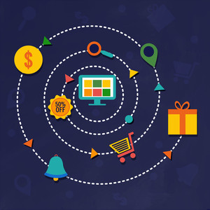 Colorful Business Infographic elements for Online Shopping and E-Commerce concept.
