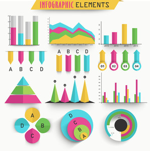 Colorful Business Infographic elements including statistical bar, graphs and charts.