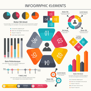Colorful Business Infographic elements set including statistical bar, graphs and chart for your professional presentation.