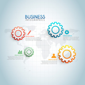 Colorful cogwheels infographic elements on world map for Business presentations.